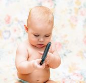 Baby With Mobile Phone
