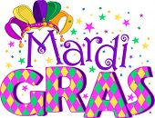 stock photo of tuesday  - Mardi Gras type treatment with jester hat - JPG