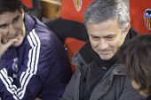 VALENCIA - JANUARY 23: Center Jose Mourinho during Spanish King�?�?�?�´s Cup match between Valencia CF and Real Madrid, on January 23, 2013, in Mestalla Stadium, Valencia, Spain