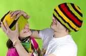 stock photo of rasta  - Loving couple in rasta - JPG