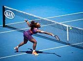 MELBOURNE - 23. Januar: Serena Williams USA in ihrem Viertelfinale Verlust zu Sloane Stephens der USA ein