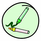 Two Marking Pen On Round Green Background