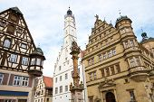 Town hall with ancient tower, city of Rothenburg, Germany