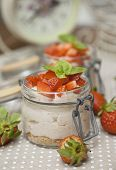 Strawberry creme with mascarpone cheese and basil on top