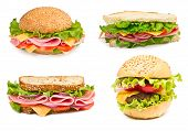 stock photo of hamburger-steak  - Collage of sandwiches with ham and vegetables isolated on a white background - JPG