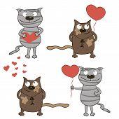 Cartoon Cats And Hearts.