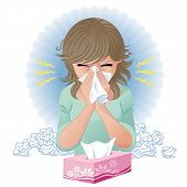 foto of hay fever  - Woman blowing nose - JPG