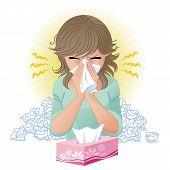 stock photo of hay fever  - Woman blowing nose - JPG