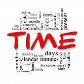 stock photo of tick tock  - Time Word Cloud Concept in Red Caps with great terms such as day hours minutes clock date seconds and more - JPG