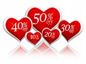 Different Percentages Off Discount In Red Hearts Banners