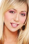 image of bimbo  - Closeup portrait of young blond girl - JPG