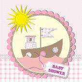 Baby Shower Scrapbooking Card Design. Vector Illustration