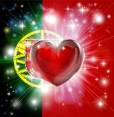 Love Portugal Flag Heart Background