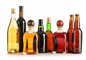 stock photo of ethanol  - Composition with bottles of assorted alcoholic products isolated on white - JPG