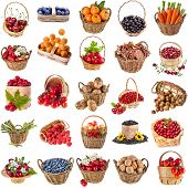 Fresh tasty healthy fruits, vegetables, berries, nuts in a wicker basket ,collection set  isolated on a white background