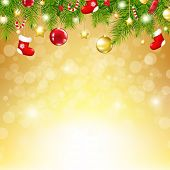 Christmas Gold Background With Bokeh, With Gradient Mesh, Vector Illustration