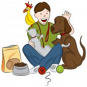 An image of a pet sitter playing with a cat, bird and dog.