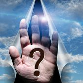 stock photo of sorcerer  - Question mark in palm hand - JPG