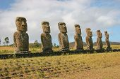 Several moai taken at Ahu Akivi on Easter Island