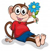 Illustration of a monkey with a blue flower on a white background