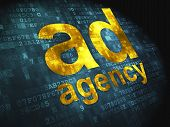 Advertising concept: Ad Agency on digital background