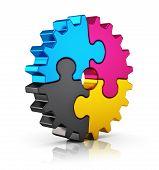 CMYK puzzle gear
