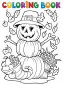 Coloring book Thanksgiving image 4 - eps10 vector illustration.