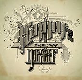 Vintage style detailed New Year card