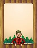 Illustration of a lumberjack standing in front of the pine trees