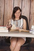 Woman White Dress Office Book Glasses Smile