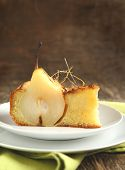 Piece Of Cake With Pears With Spun Sugar Strands