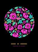 Night Kimono Blossom Circle Decor Pattern Background