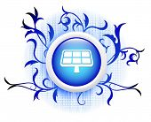 solarpanel icon on blue decorative button