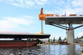 foto of flatboat  - bridge lift from the bay from a barge