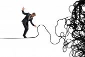 stock photo of overcoming obstacles  - Concept of problem and difficulty of a businessman - JPG