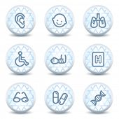 Medicine web icons set 2, glossy circle buttons