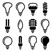 stock photo of fluorescent light  - Twelve black and white various Light bulbs icon set - JPG