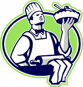 image of oval  - Illustration of a baker chef cook holding serving pie with roller in foreground set inside oval done in retro style - JPG