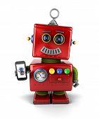 Vintage Robot With Smartphone