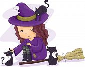 picture of witch  - Halloween Illustration of a Little Girl Dressed as a Witch Playing with Black Cats - JPG