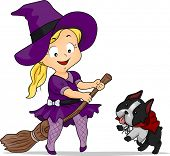 Halloween Illustration of a Little Girl Dressed as a Witch