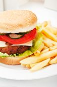 Classic hamburger served with french fries, american fast food meal