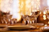 stock photo of banquet  - beautifully served table in a good restaurant - JPG