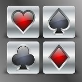 image of joker  - Icons set of four card suits of silver button - JPG