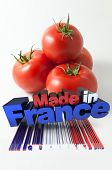 Tomatoes with the words Made in France and a bar code marked quality