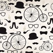 Seamless vintage mustache hipster jazz music illustration background pattern in vector