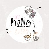 Hello happy autumn balloon and hipster bicycle postcard cover design