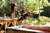 People Dive Into Blood Pit On Zombie Obstacle Course Race