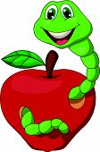 Cartoon Worm with red apple