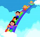 Cartoon Kids Sliding Down a Rainbow